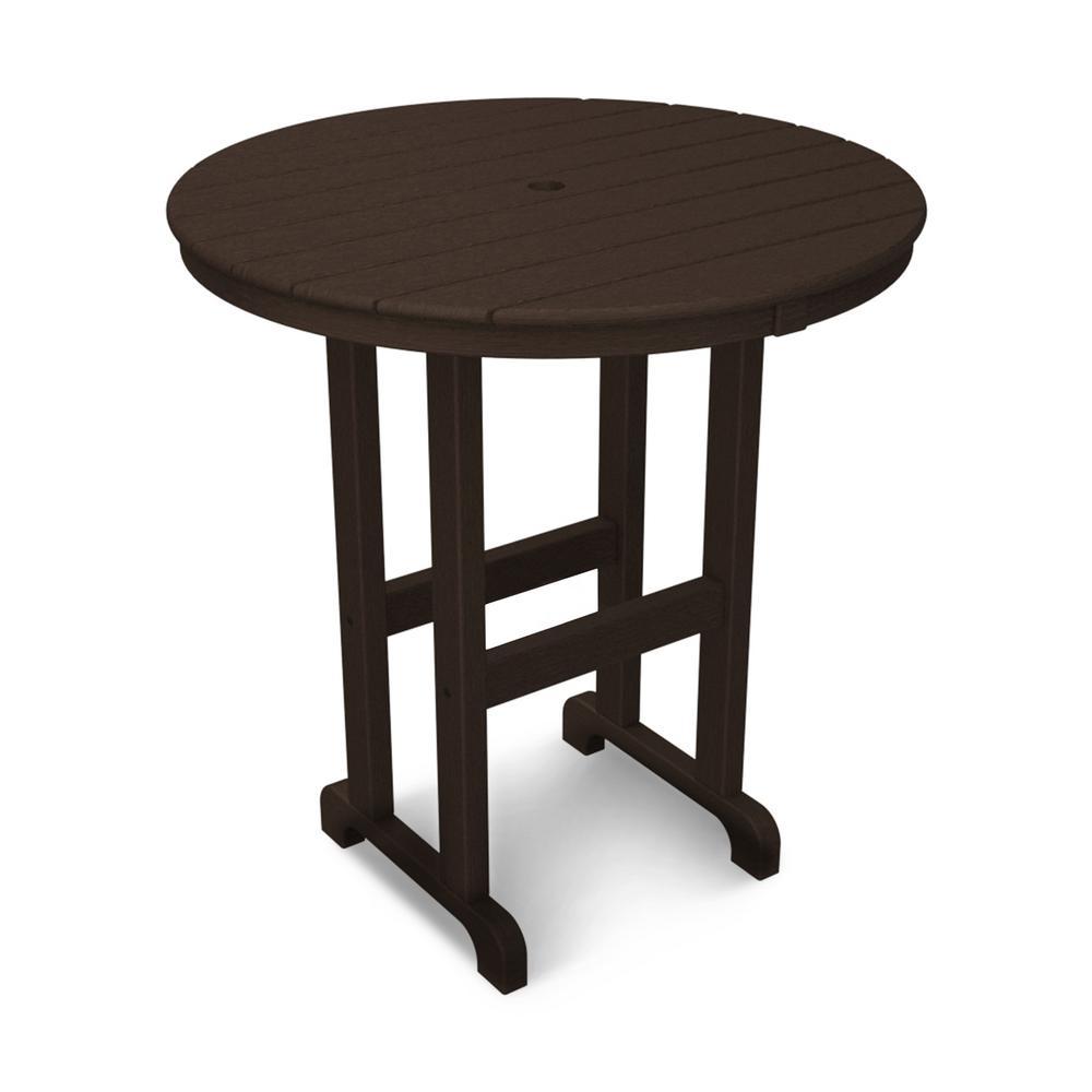 La Casa Cafe 36 in. Mahogany Round Patio Counter Table