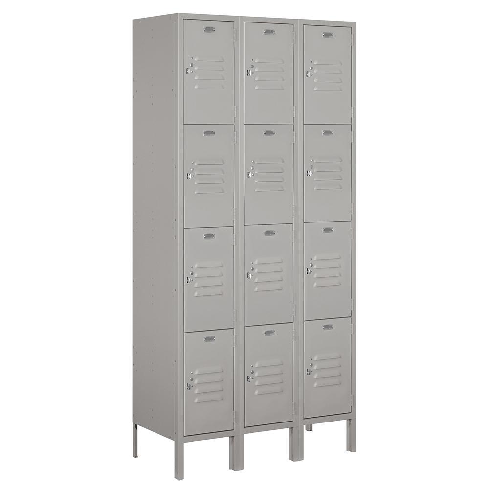 64000 Series 36 in. W x 78 in. H x 15 in. D 4-Tier Metal Locker Assembled in Gray