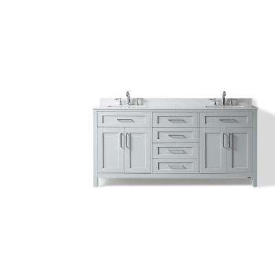 Riverdale 72 in W Marble Double Basin Vanity Top in White with White Basins