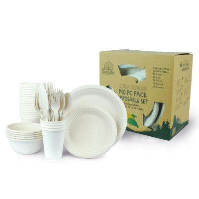 Natural Cornstarch Cups, Bowls, Main Plate, Side Plate, Forks, Spoons, Knifes (20-Pack of Each)
