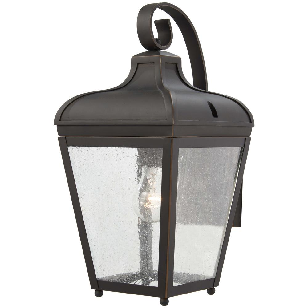 The Great Outdoors Marquee 1-Light Oil Rubbed Bronze with Gold Highlights Outdoor Wall Lantern Sconce