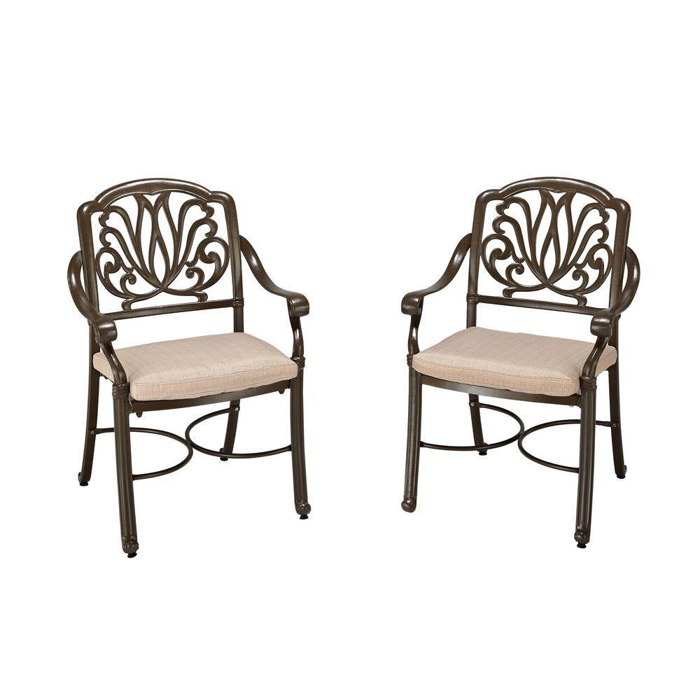 Pair of Taupe Patio Dining Arm Chair