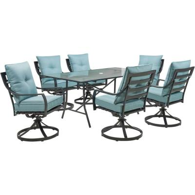 Lavallette 7-Piece Steel Outdoor Dining Set with Ocean Blues Cushions, Swivel Rockers and a Glass-Top Table