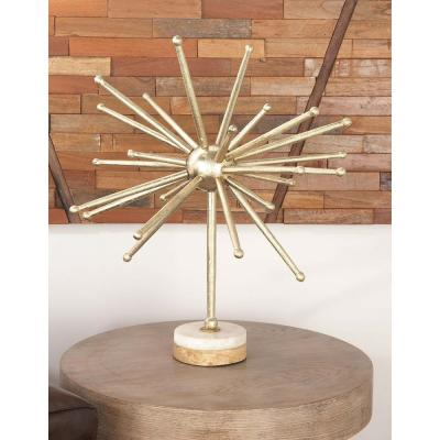 Abstract Starburst Aluminum Sculpture with Wood and Marble Base
