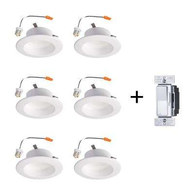 RL 4 in. 3000K Soft White Color Temperature Remodel Recessed Integrated LED Kit (6-Pack) with All Load Dimmer