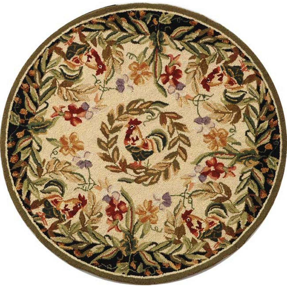 Safavieh Chelsea Cream/Black 8 Ft. X 8 Ft. Round Area Rug