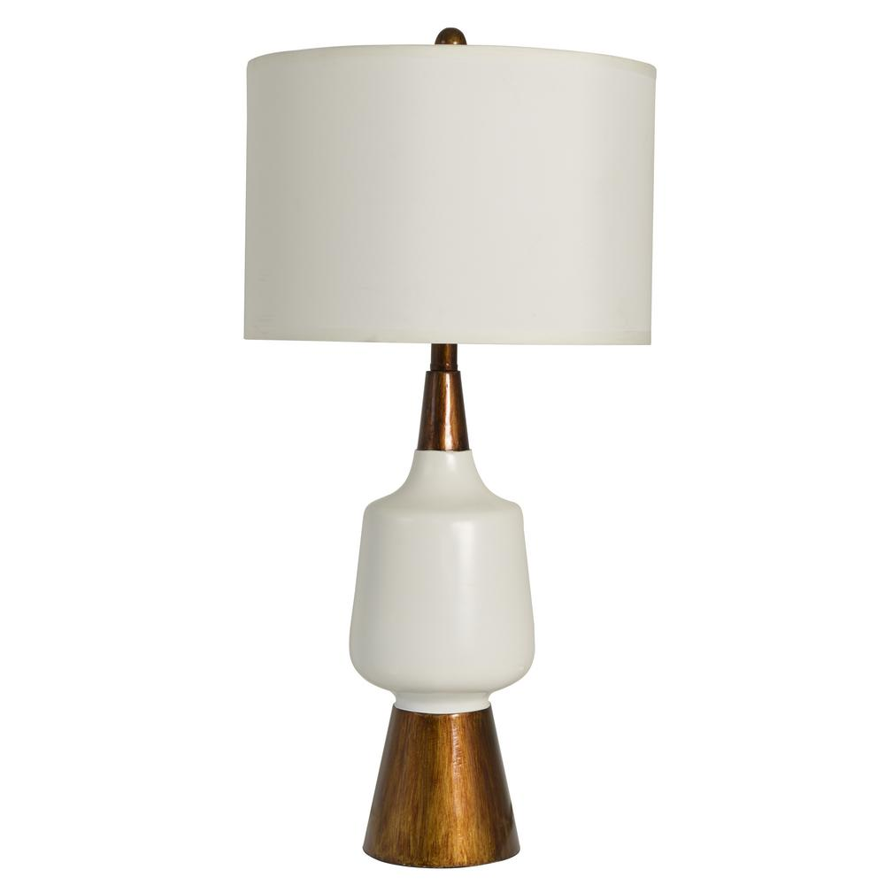 Faux Wood 28.5 in. White and Brown Table Lamp with Faux