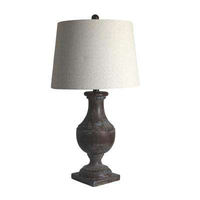 28 in. Bronze Classic Urn On Square Pedestal Resin Table Lamp
