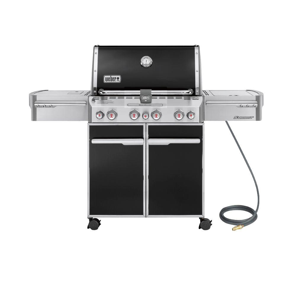 Weber Summit E-470 4-Burner Natural Gas Grill in Black wi...