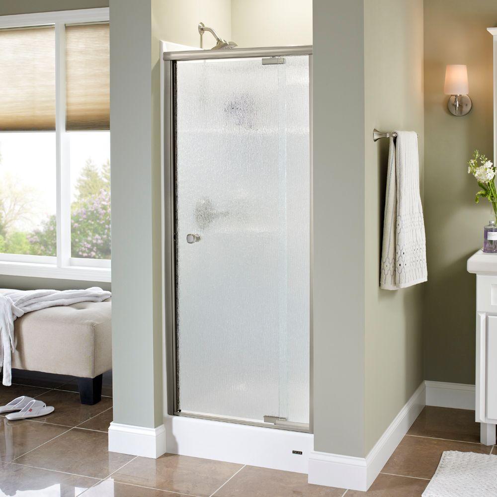 Mandara 31 in. x 66 in. Semi-Frameless Pivot Shower Door in Nickel with Rain Glass