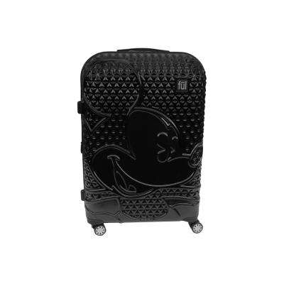 Textured Mickey Mouse 21 in. Black Hard Sided Rolling Luggage