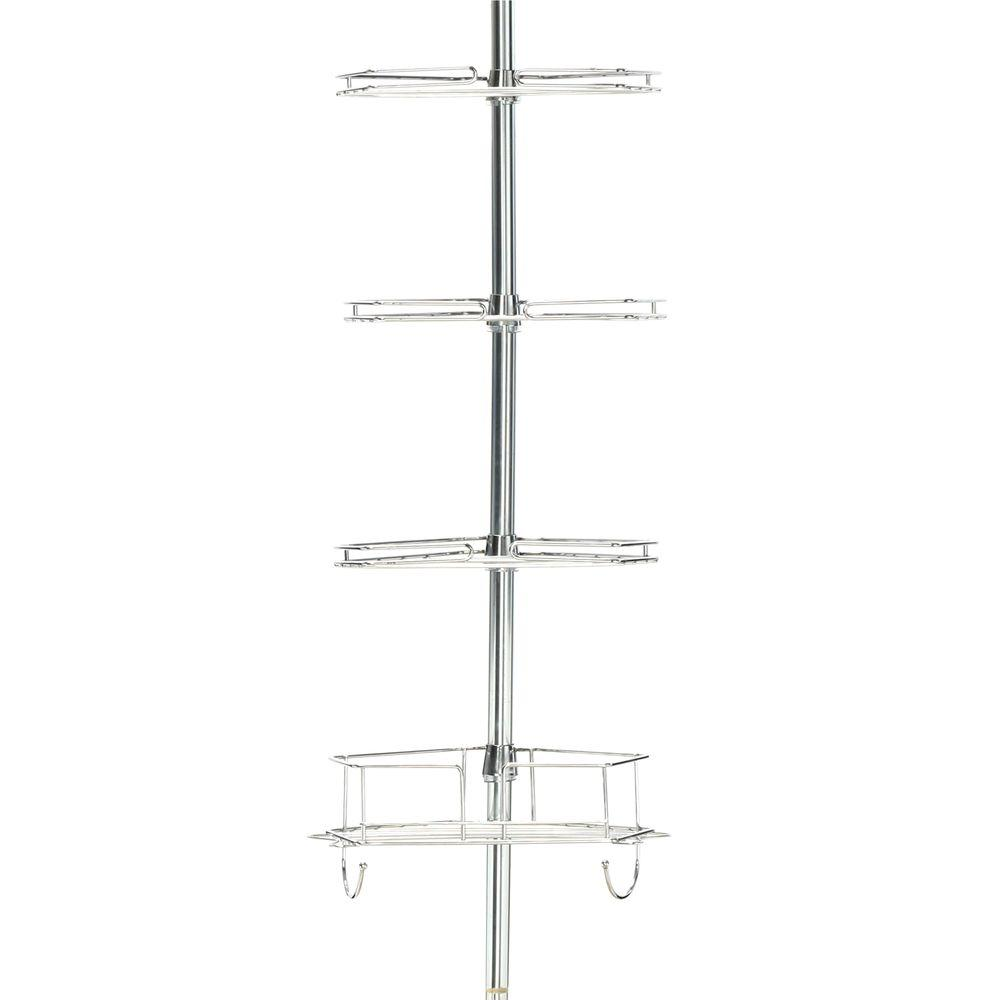 Metal Tension-Mount Pole Shower Caddy in Chrome