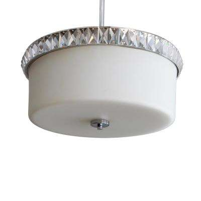 Cora 3-Light Chrome, White Glass with Clear Glass Crystal Pendant