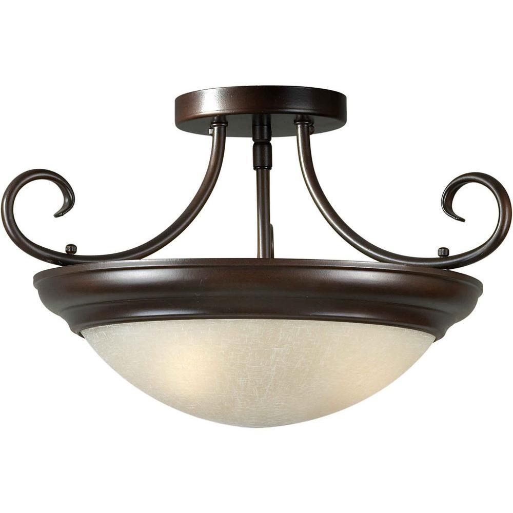 Illumine 3-Light Semi Flush Mount Antique Bronze Finish Umber Linen Glass-DISCONTINUED