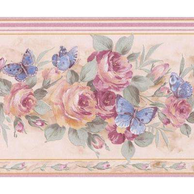 Pink Roses Blue Butterflies Ivory White Prepasted Wallpaper Border
