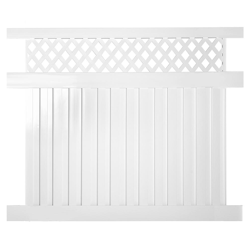 Clearwater 5 ft. x 8 ft. White Vinyl Privacy Fence Panel