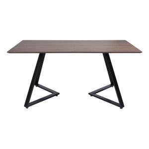 Rectangular Brown Dining Table Accent Table with Coating Metal Tube Frame