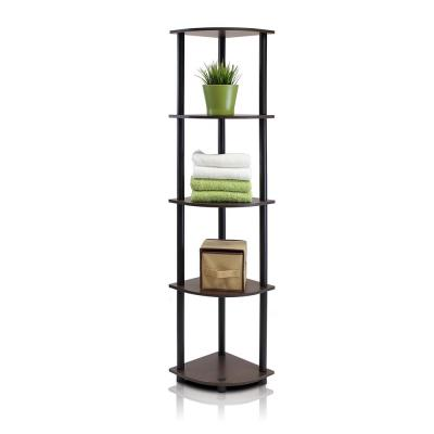 Turn-N-Tube Dark Brown 5-Shelf Corner Open Shelf