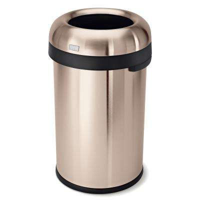 80-Liter Rose Gold Heavy-Gauge Stainless Steel Bullet Round Open Top Trash Can