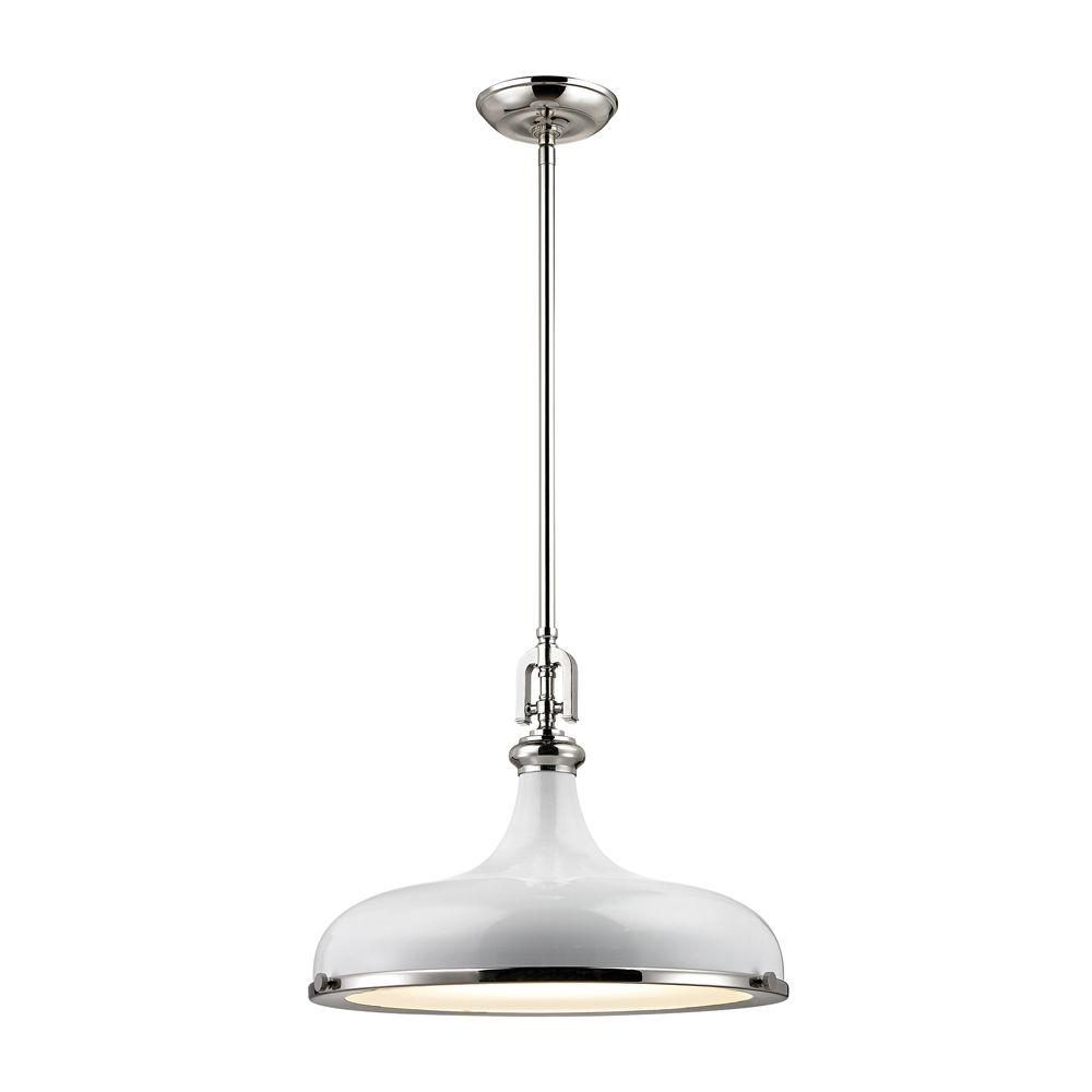 Rutherford 1-Light Polished Nickel/Gloss White Pendant