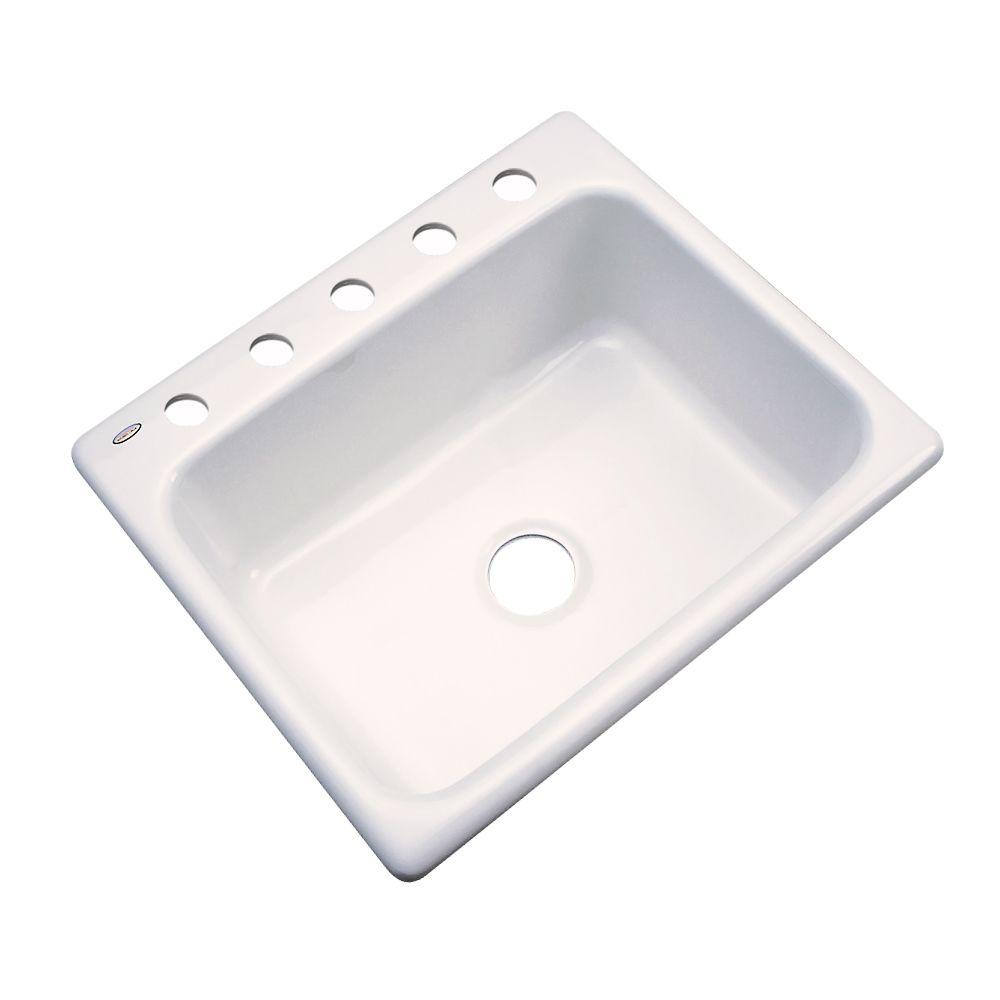 Inverness Drop-in Acrylic 25.in 5-Hole Single Bowl Kitchen Sink in Bone