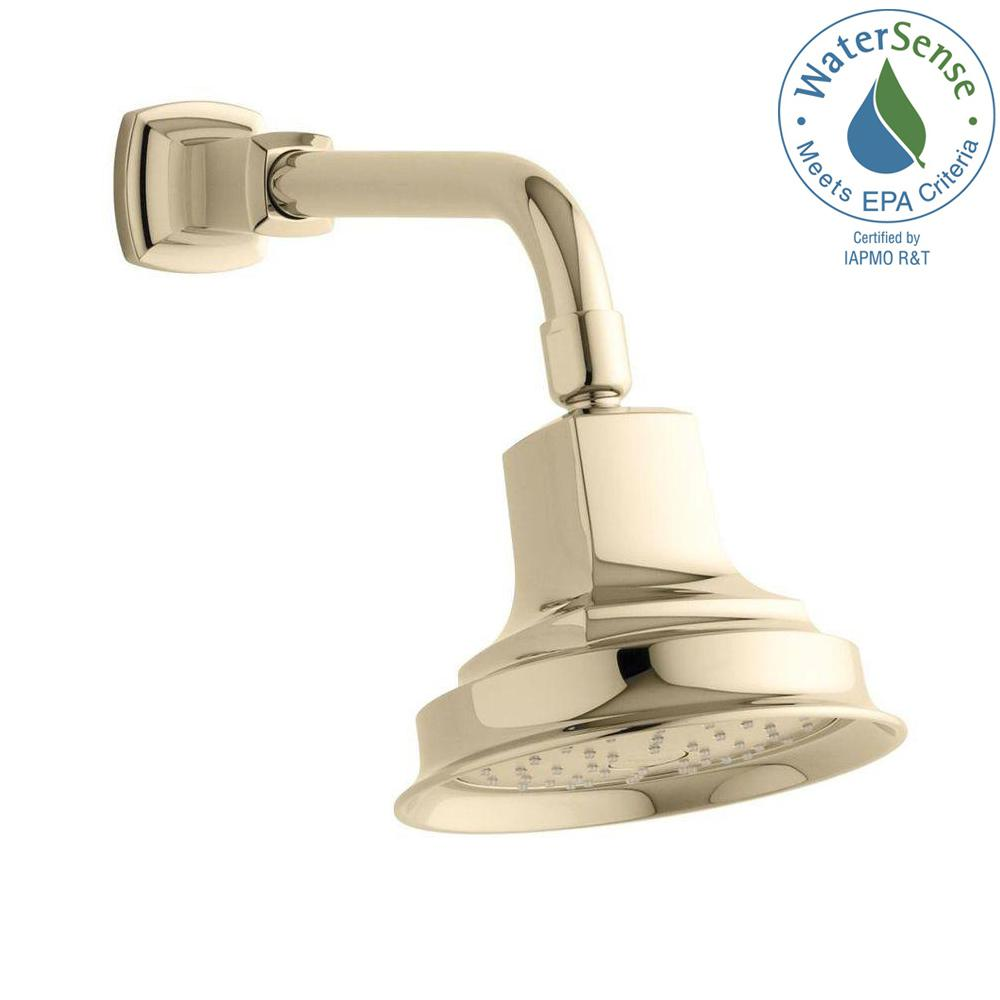 KOHLER Margaux 1-Spray Single Function 5.9375 in. Katalyst Air-Induction Showerhead in Vibrant French Gold