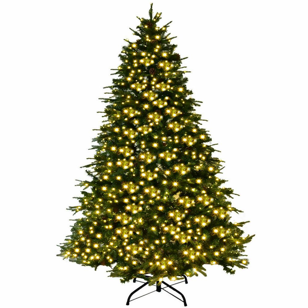 Artificial Christmas Tree With Pine Cones: Costway 8 Ft. Pre-Lit LED Artificial Christmas Tree Hinged