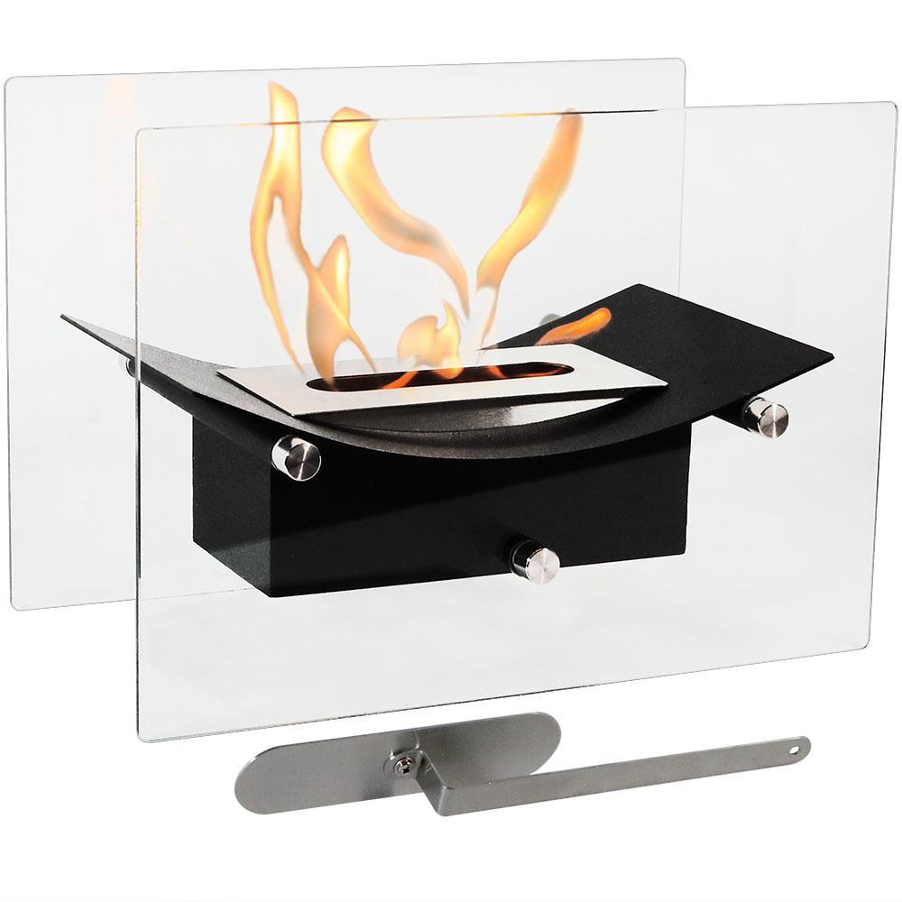 Zen 14 in. Bio-Ethanol Tabletop Fireplace in Black