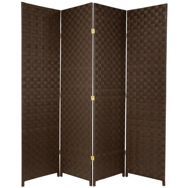 6 ft. Dark Brown 4-Panel Room Divider
