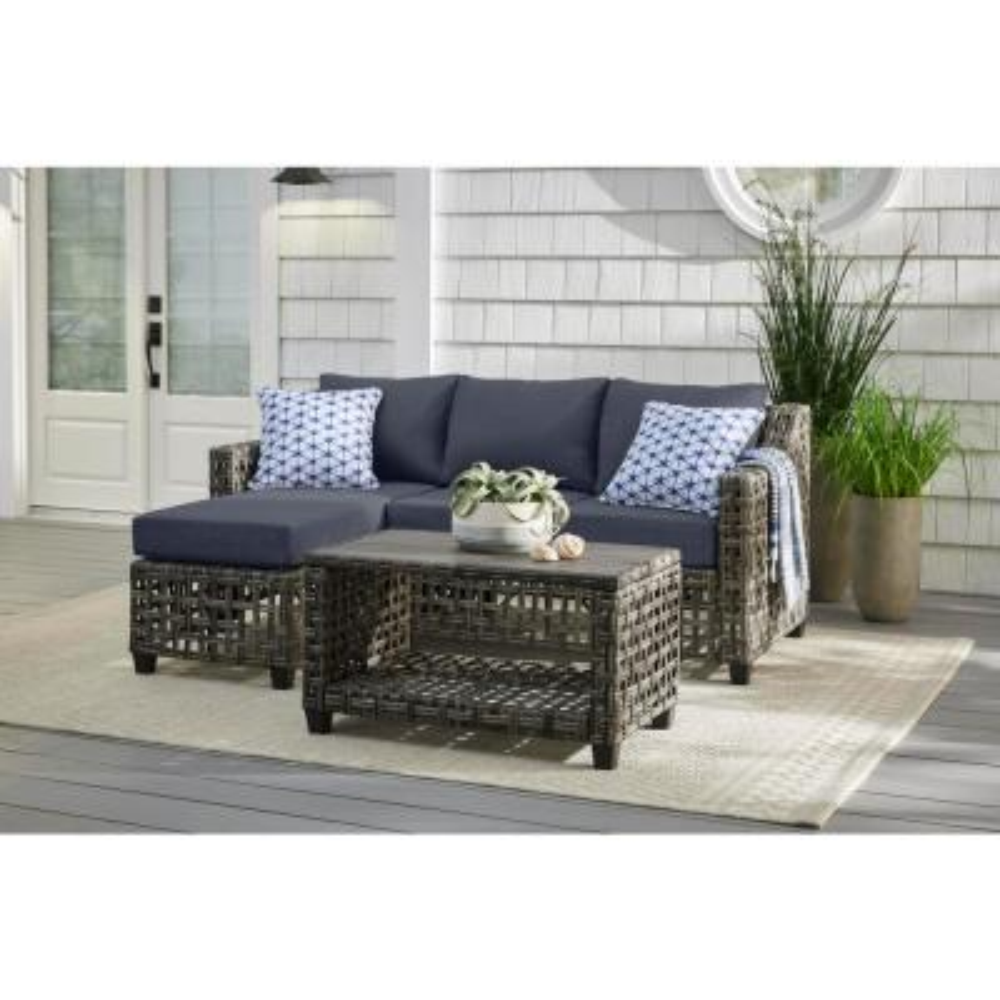 Briar Ridge 3-Piece Brown Wicker Outdoor Patio Sectional Sofa with CushionGuard Sky Blue Cushions