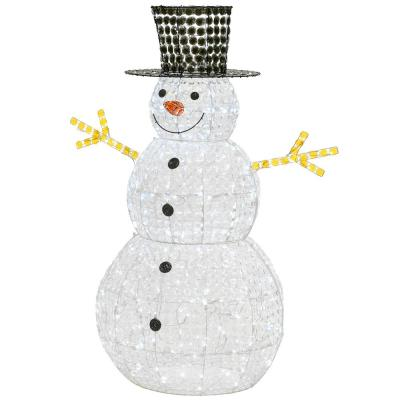 60 in. White Ice Crystal Bead Snowman with 240 Cool Twinkle LED Lights
