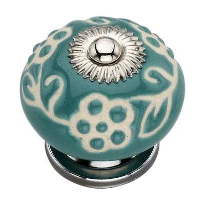 Etched 1.61 in. Pansy Cabinet Knob