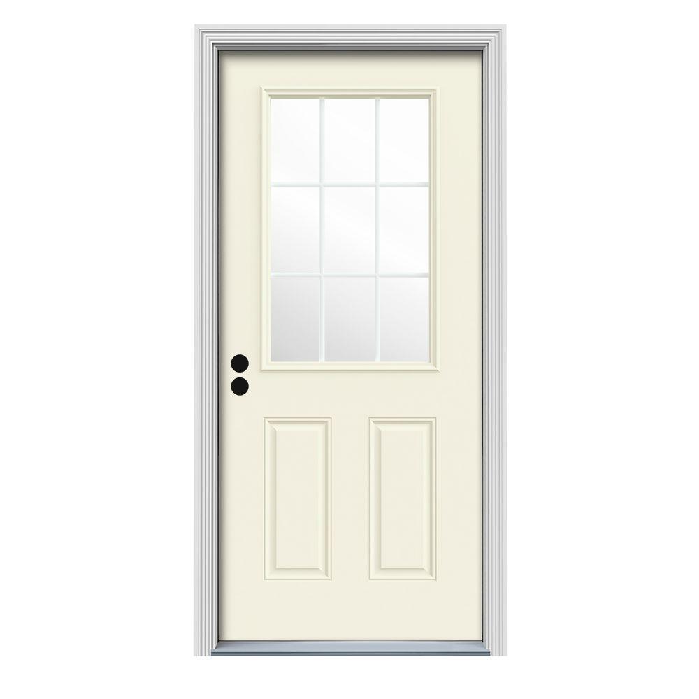 36 in. x 80 in. 9 Lite Vanilla Painted Steel Prehung Right-Hand Inswing Front Door w/Brickmould