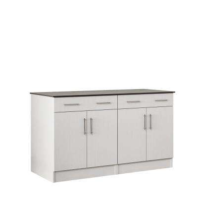 Miami 59.5 in. Outdoor Cabinets with Countertop 4 Door and 2 Drawer in White
