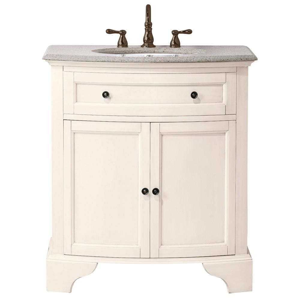 Home Decorators Collection Hamilton Shutter 31 in. W x 22 in. D Bath Vanity in Ivory with Granite Vanity Top in Grey