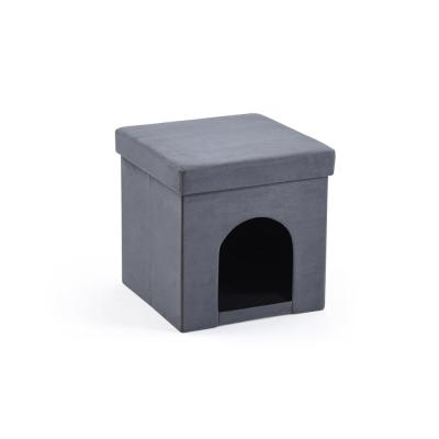 Faux Suede Collapsible Pet Grey Ottoman