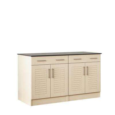 Key West 59.5 in. Outdoor Cabinets with Countertop 4-Door and 2-Drawer in Sand