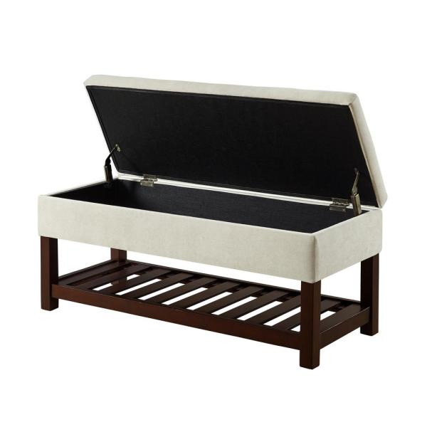 Relax A Lounger Rio Bench with Storage Ottoman Beige Rio Bench
