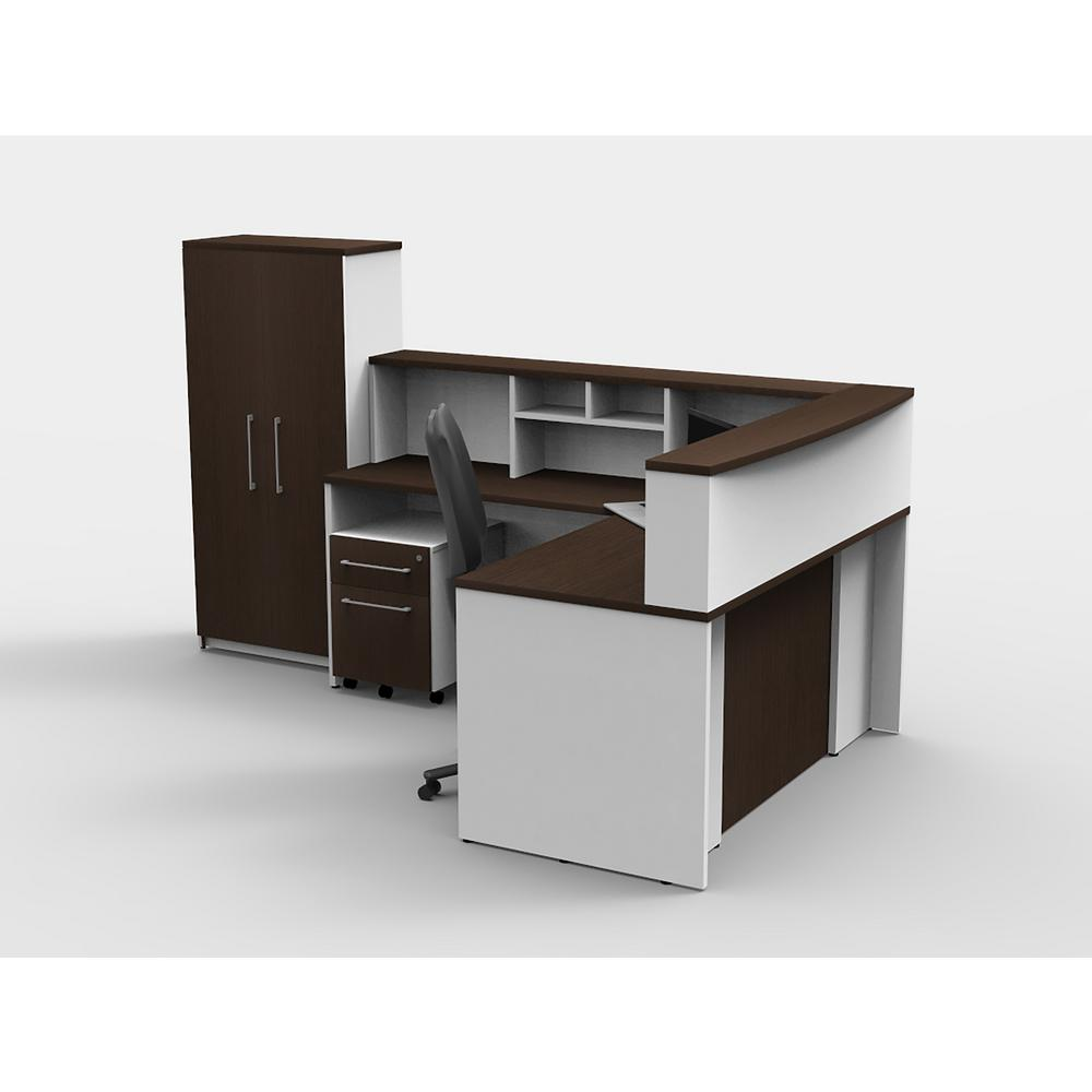 Exceptionnel OfisLITE 6 Piece White/Espresso Office Reception Desk Collaboration Center