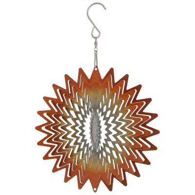 6 in. Orange Star Whirligig Outdoor Wind Spinner with Hook