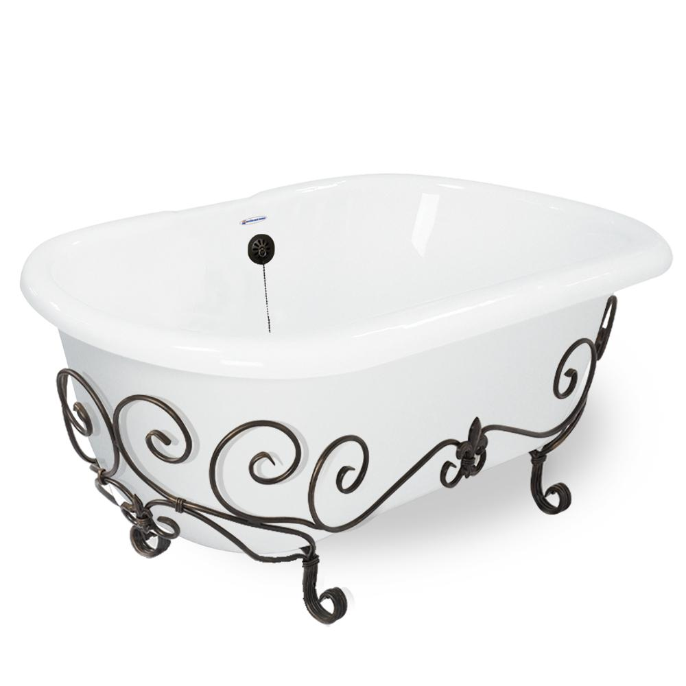 60 in. AcraStone Double Clawfoot Non-Whirlpool Bathtub in White and Base
