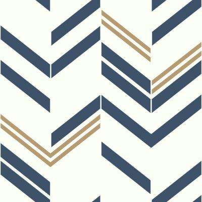 28.18 sq. ft. Blue Chevron Stripe Peel and Stick Wallpaper