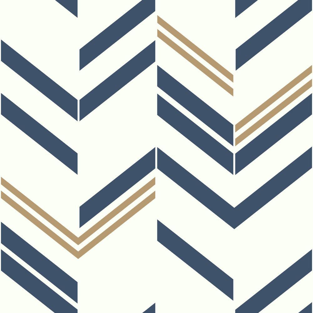 Blue Chevron Stripe Vinyl Peelable Roll (Covers 28.18 sq. ft.)