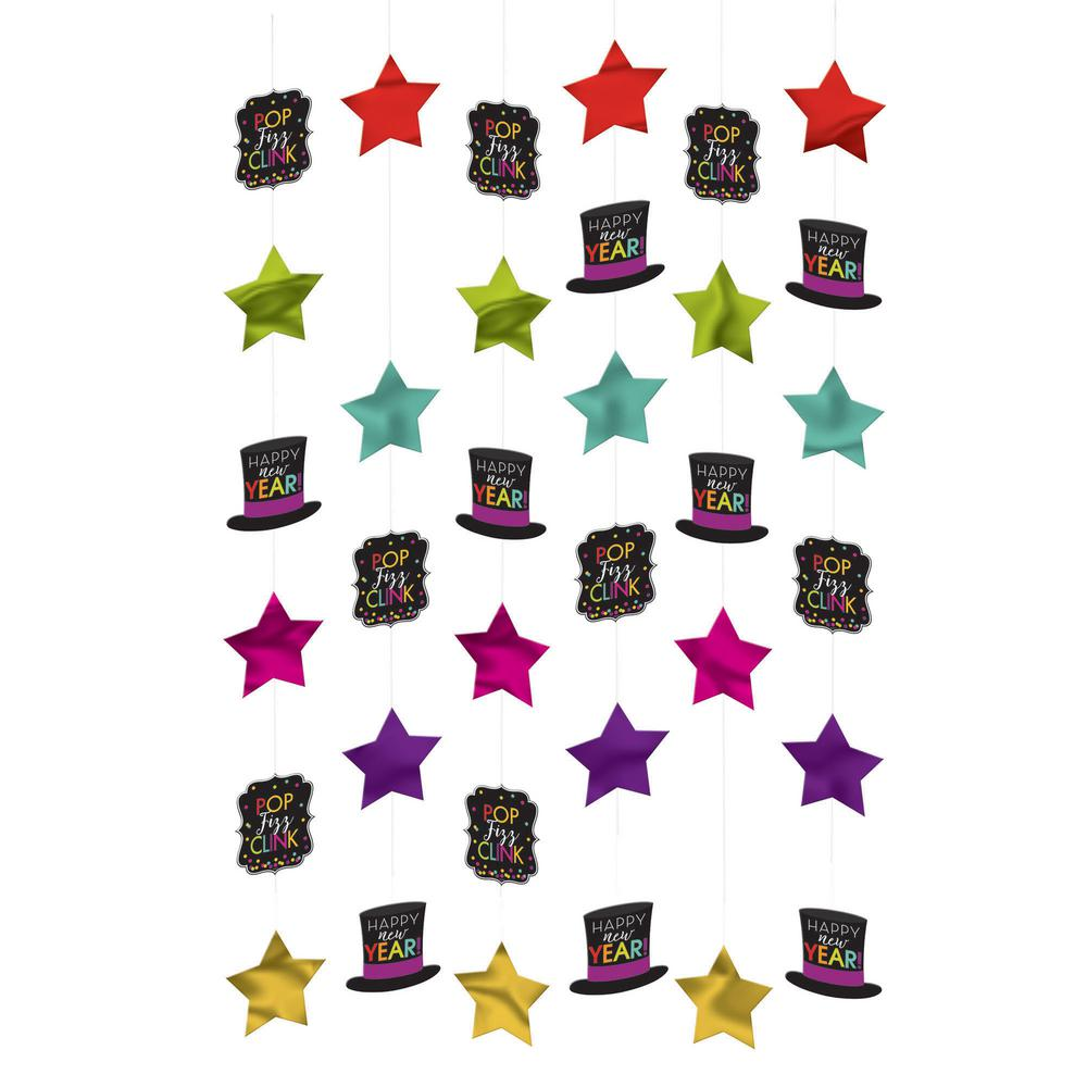 New Year's 6 ft. Jewel Tone String Decoration (6-Count 3-Pack)