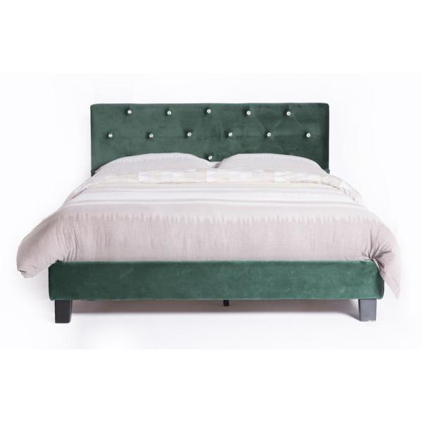Green Queen Size Wood Velvet Tufted Platform Bed Frame QI003530G