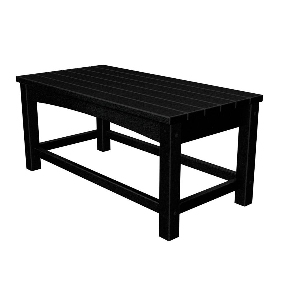 Outdoor Coffee Table: POLYWOOD Club Black Patio Coffee Table-CLT1836BL