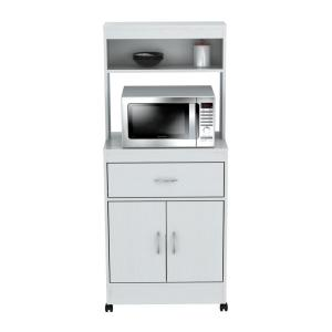 Ready to Assemble 23.62 in. x 15.75 in. x 54.13 in. White Laminate Microwave Storage Cabinet