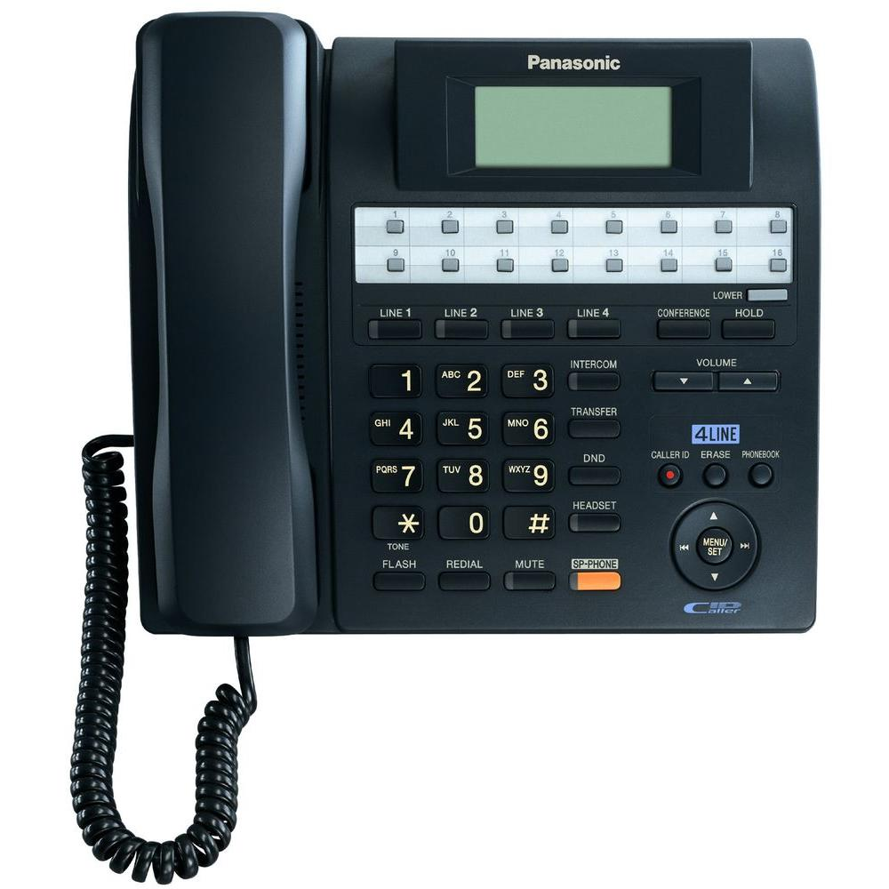Panasonic 4-Line Corded Speakerphone with Caller ID and Backlit LCD - Black