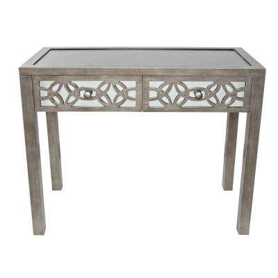 Silver Mirrored 2 Drawer Console Table