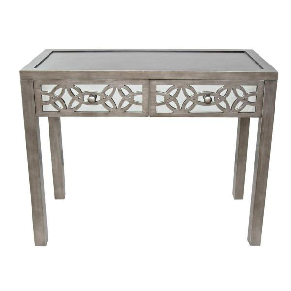 River of Goods Silver Mirrored 2-Drawer Console Table 16404
